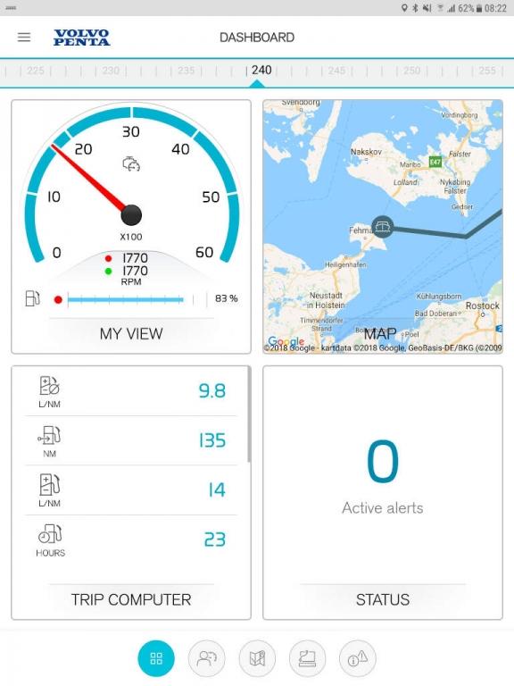 volvo penta easy connect personalisation tableau de bord smartphone et tablette